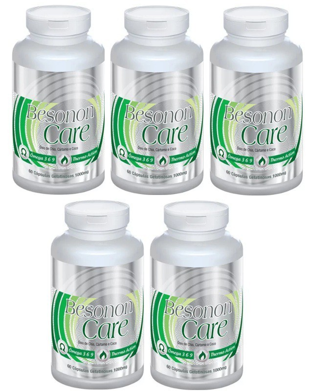 Besonon Care 1000mg - Original - 5 Potes (300 cáps.) Chia, Cártamo e Coco