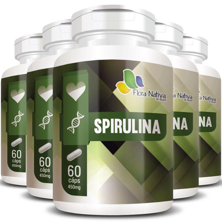 Spirulina 100% Pura Original 450mg - 5 Potes (300 cáps.)