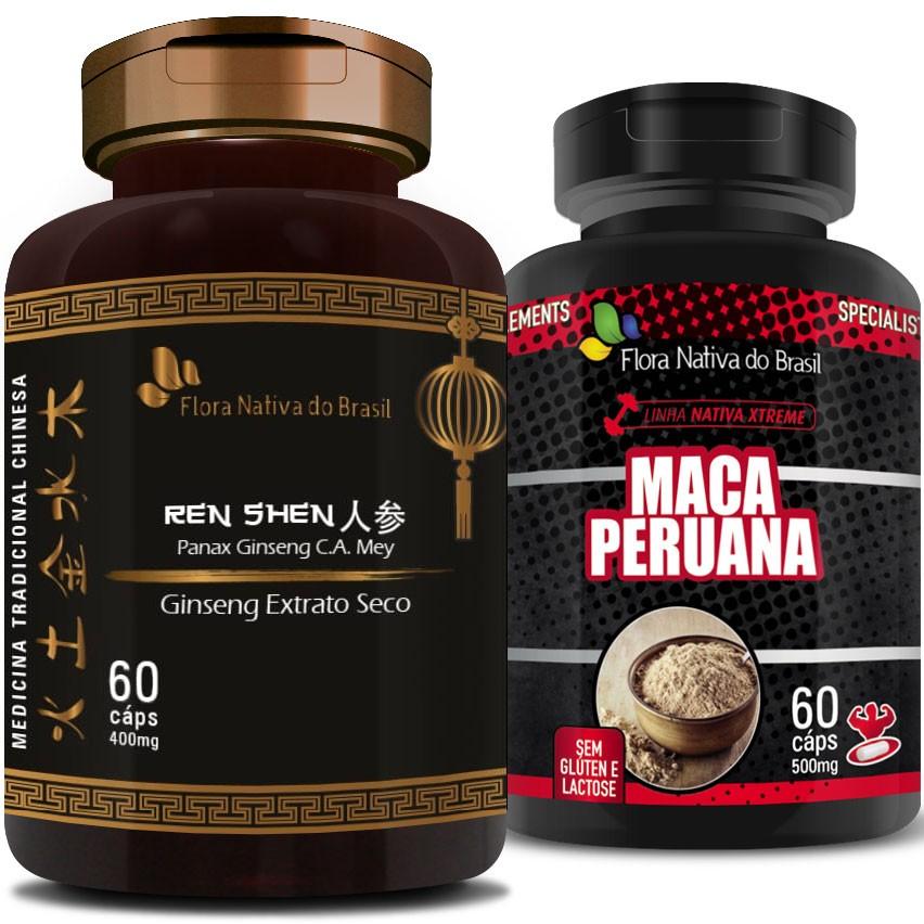 Kit - Ginseng Extrato Seco Puro (Ren Shen) 400mg + Maca Peruana (Lepidium Meyenii) 500mg
