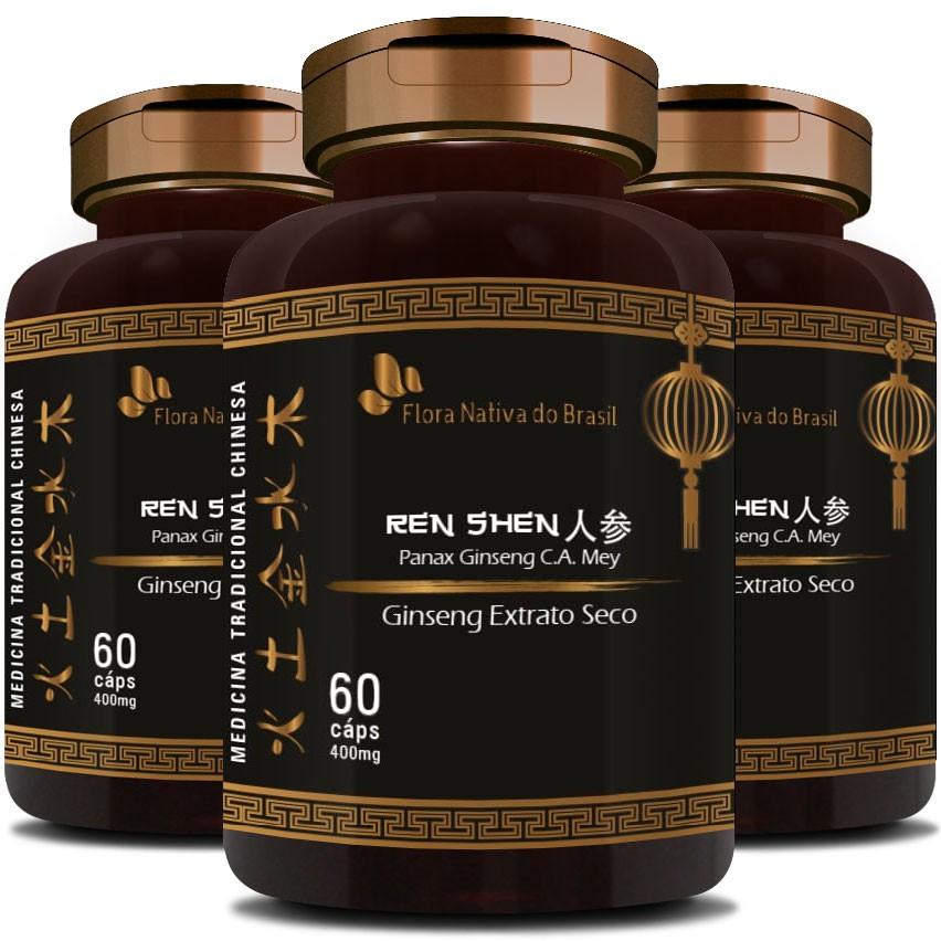Ginseng Extrato Seco Puro (Ren Shen) 400mg - 3 Potes (180 cáps.)