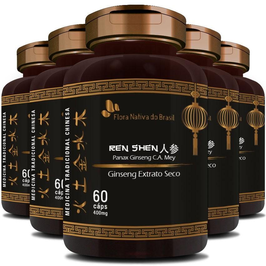 Ginseng Extrato Seco Puro (Ren Shen) 400mg - 5 Potes (300 cáps.)