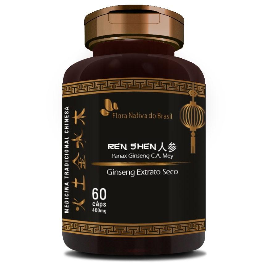 Ginseng Extrato Seco Puro (Ren Shen) 400mg - 60 cápsulas