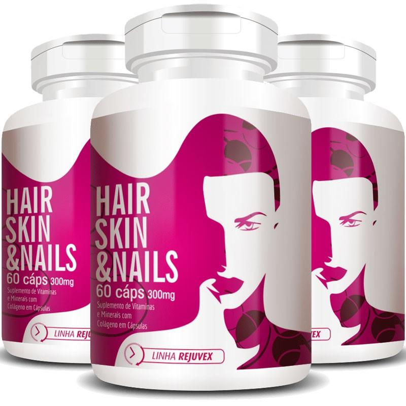 Hair Skin & Nails Mulher | Cabelos, Unhas e Pele - 3 Potes (180 cáps.)