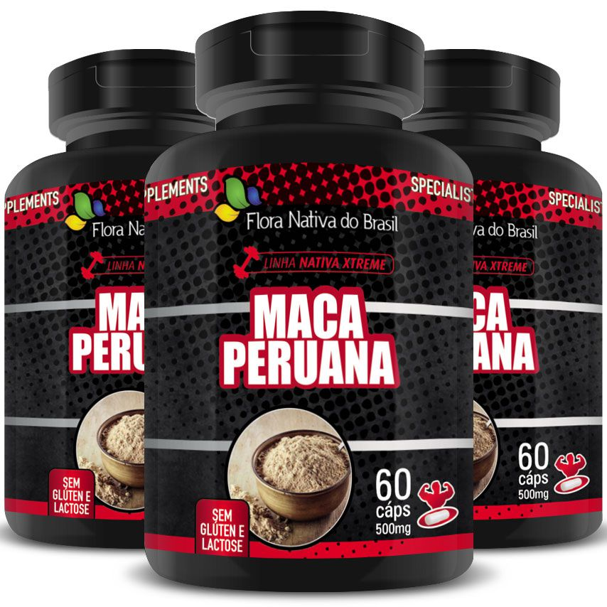 Maca Peruana (Lepidium Meyenii) 500mg - A Legítima - 100% Pura - 3 Potes (180 cáps)