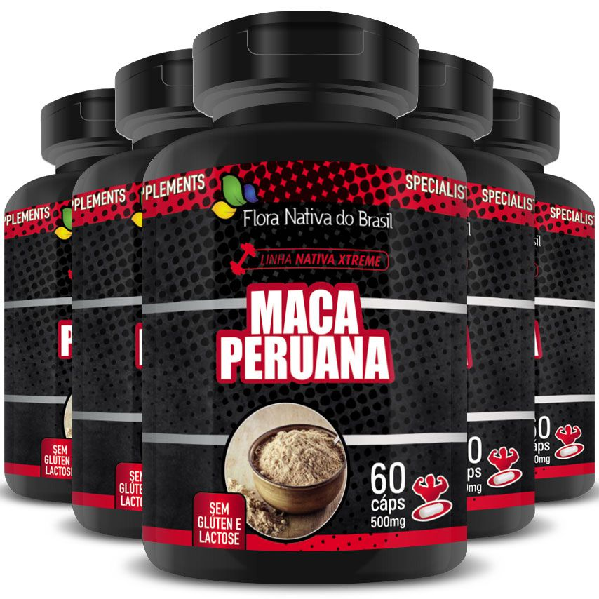 Maca Peruana (Lepidium Meyenii) 500mg - A Legítima - 100% Pura - 5 Potes (300 cáps)