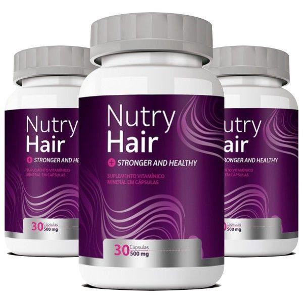 Nutry Hair  Original   Vitaminas para Cabelo e Unhas - 3 Potes (90 cáps)
