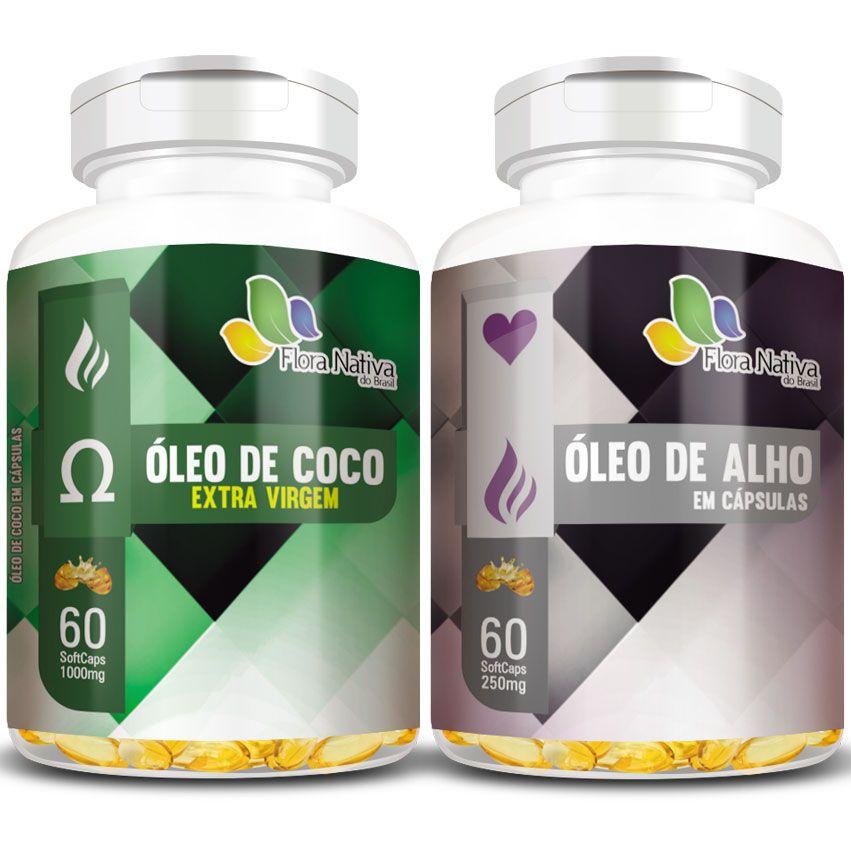 Kit - Óleo de Coco Extra Virgem 1000mg + Óleo de Alho 250mg