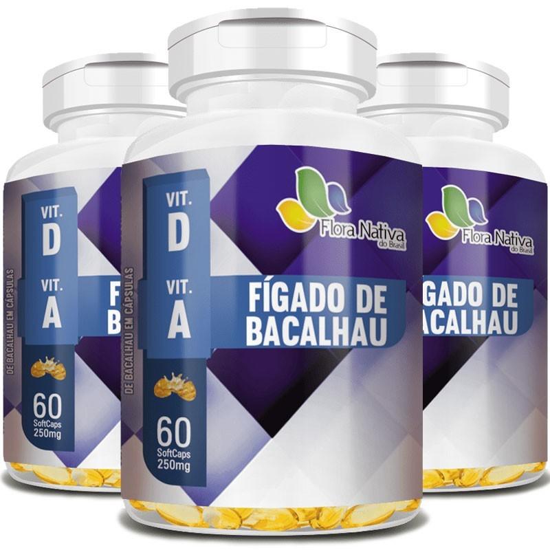 Óleo de Fígado de Bacalhau 100% Puro - 250mg - 03 Potes (180 cáps.)