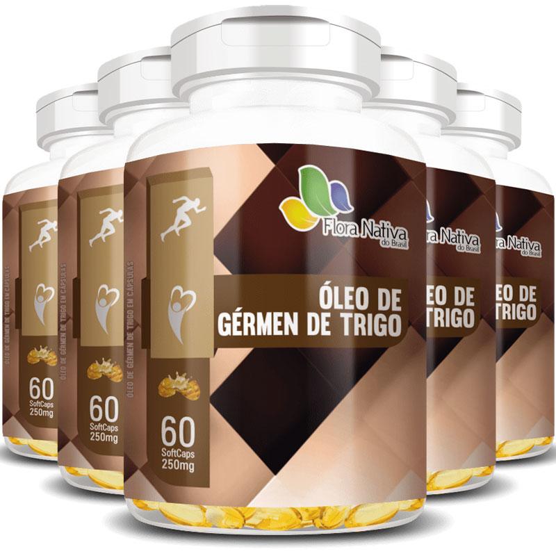 Óleo de Gérmen de Trigo 250mg - 100% Puro - 5 Potes (300 cáps.)