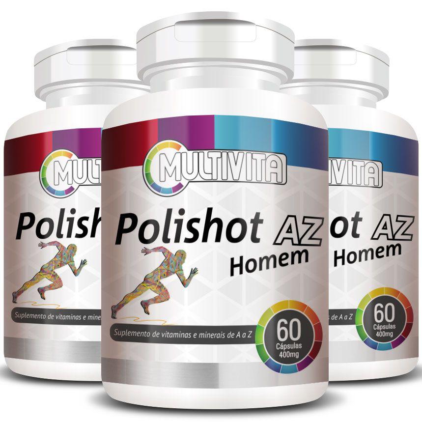Polishot AZ Homem 500mg | Polivitamínico Multivitamínico - 3 Potes (180 cáps.)