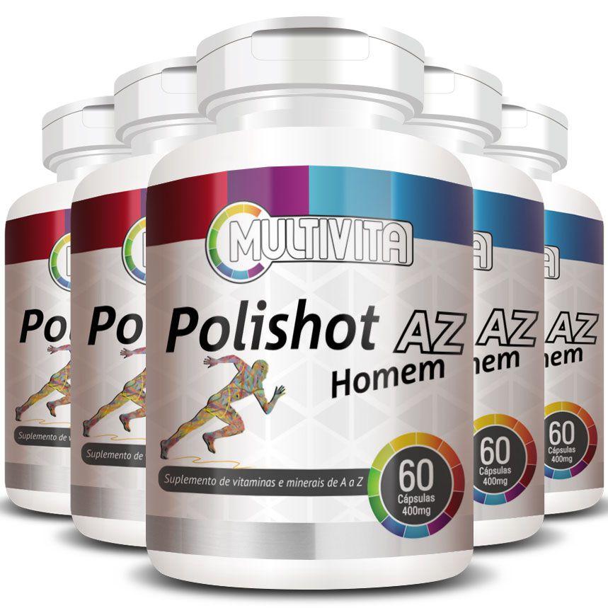 Polishot AZ Homem 500mg | Polivitamínico Multivitamínico - 5 Potes (300 cáps.)