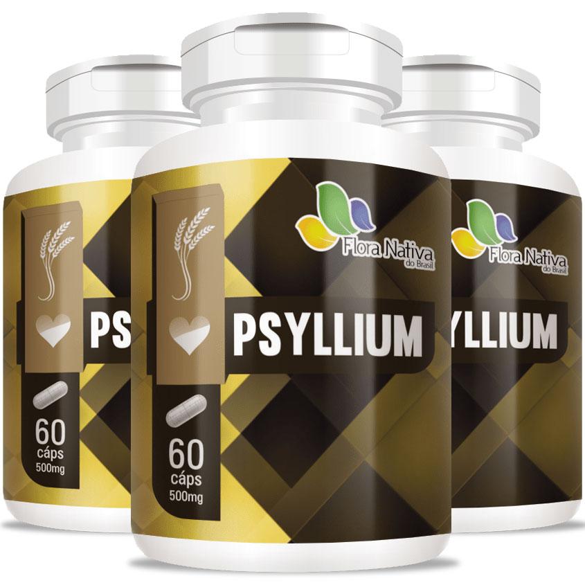 Psyllium (Plantago Ovata) 500mg Fibras - 3 Potes (180 cáps.)