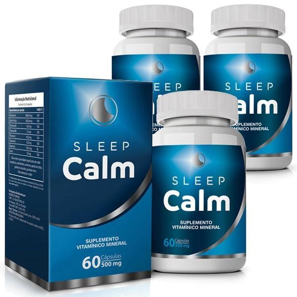 Sleep Calm 500mg - 03 Potes com 60 cápsulas