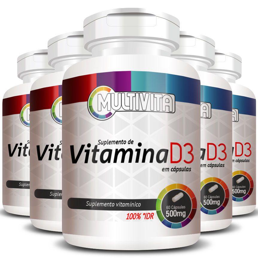 Vitamina D3 50mcg (2000UI) Colecalciferol - 5 Potes (300 Cáps.)