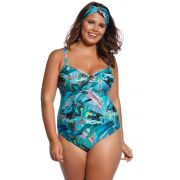 Maiô de Praia Plus Size Tropical Blue