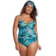 Maiô de Praia Plus Size Tropical Blue
