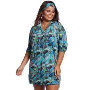 Saída de Praia Plus Size Camisa Tropical Blue