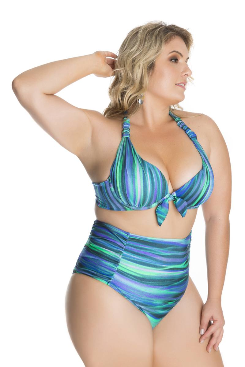 BIQUINI RETRÔ HOT PANT ONDAS DO MAR PLUS SIZE