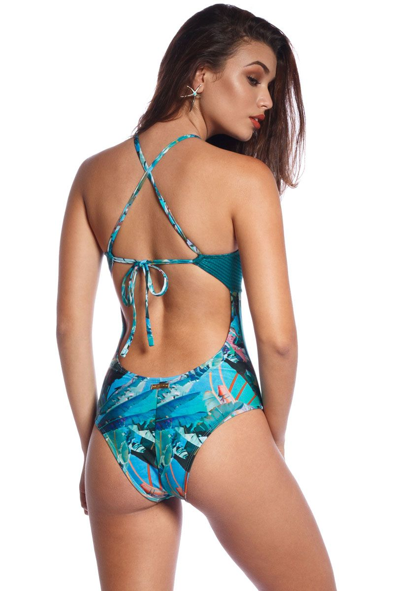 Maiô Cropped Tropical Blue