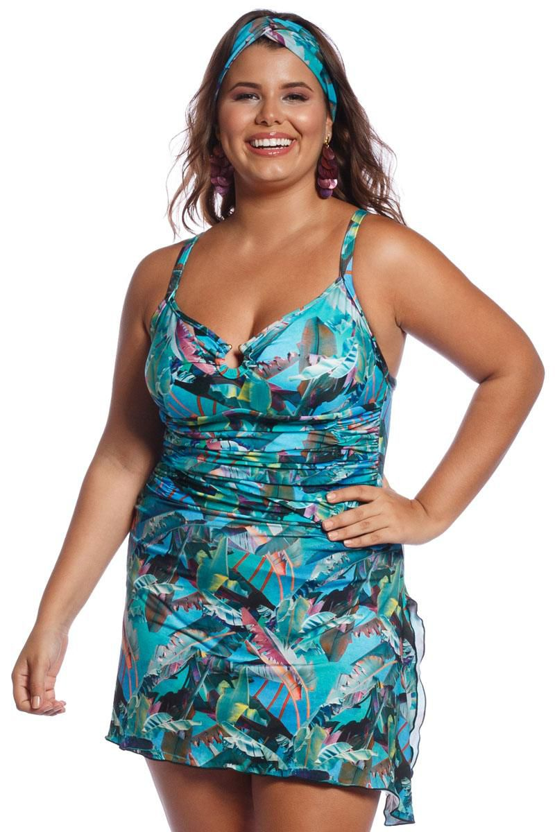Maiô Plus Size com Saia Tropical Blue