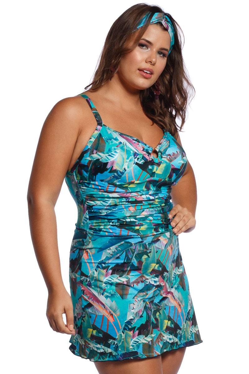 Maiô Plus Size com Saia Tropical Blue