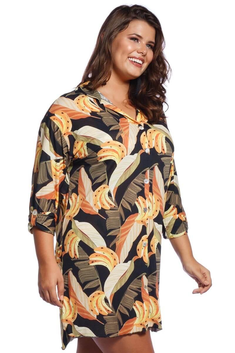Saída de Praia Plus Size Camisa Brasileirinha