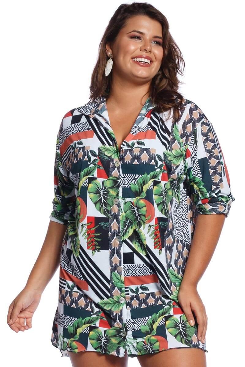 Saída de Praia Plus Size Camisa Botanic