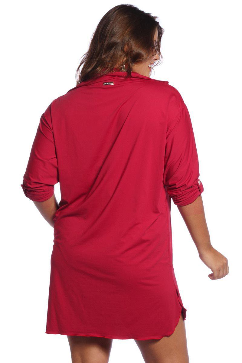 Saída de Praia Plus Size Vermelha Camisa