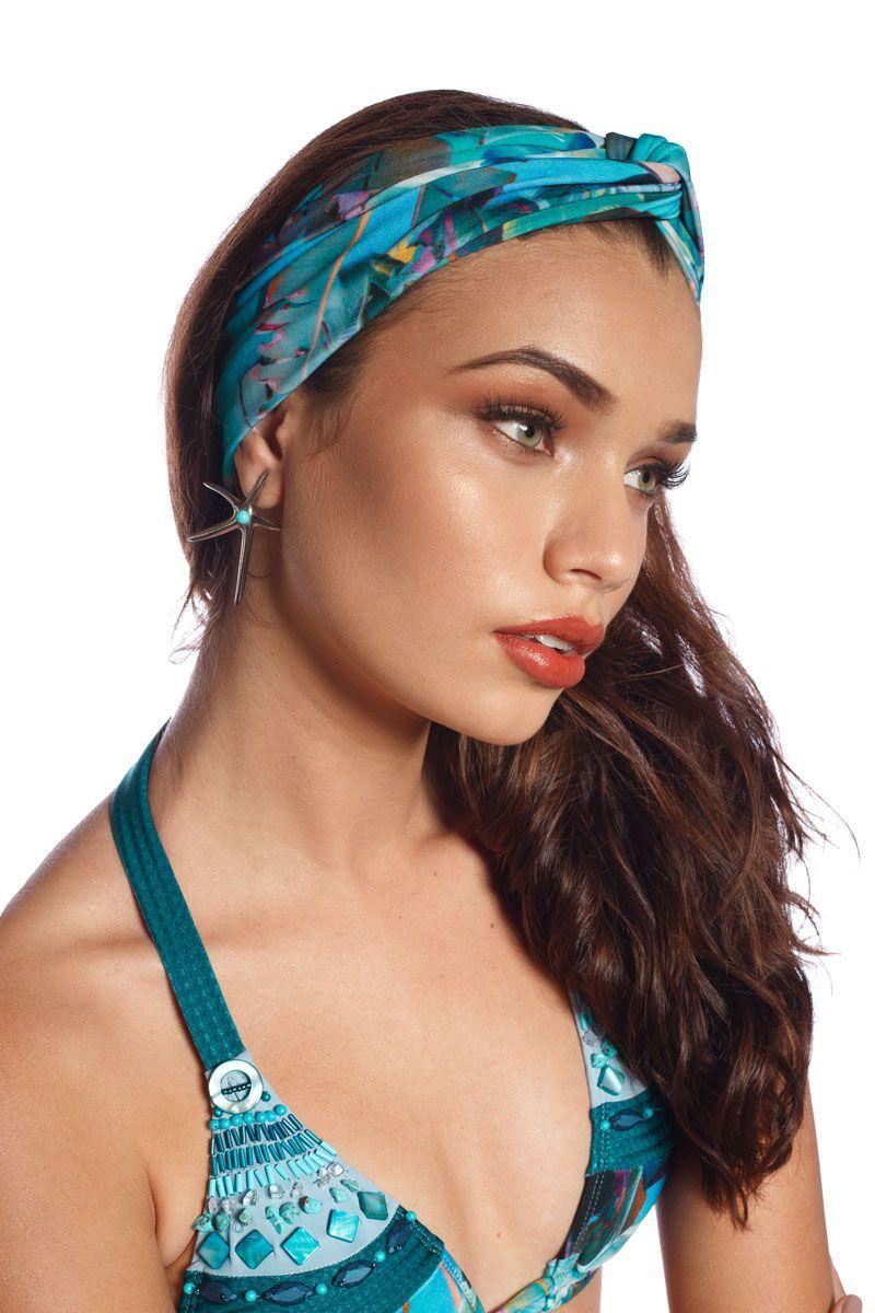Turbante Feminino Tropical Blue