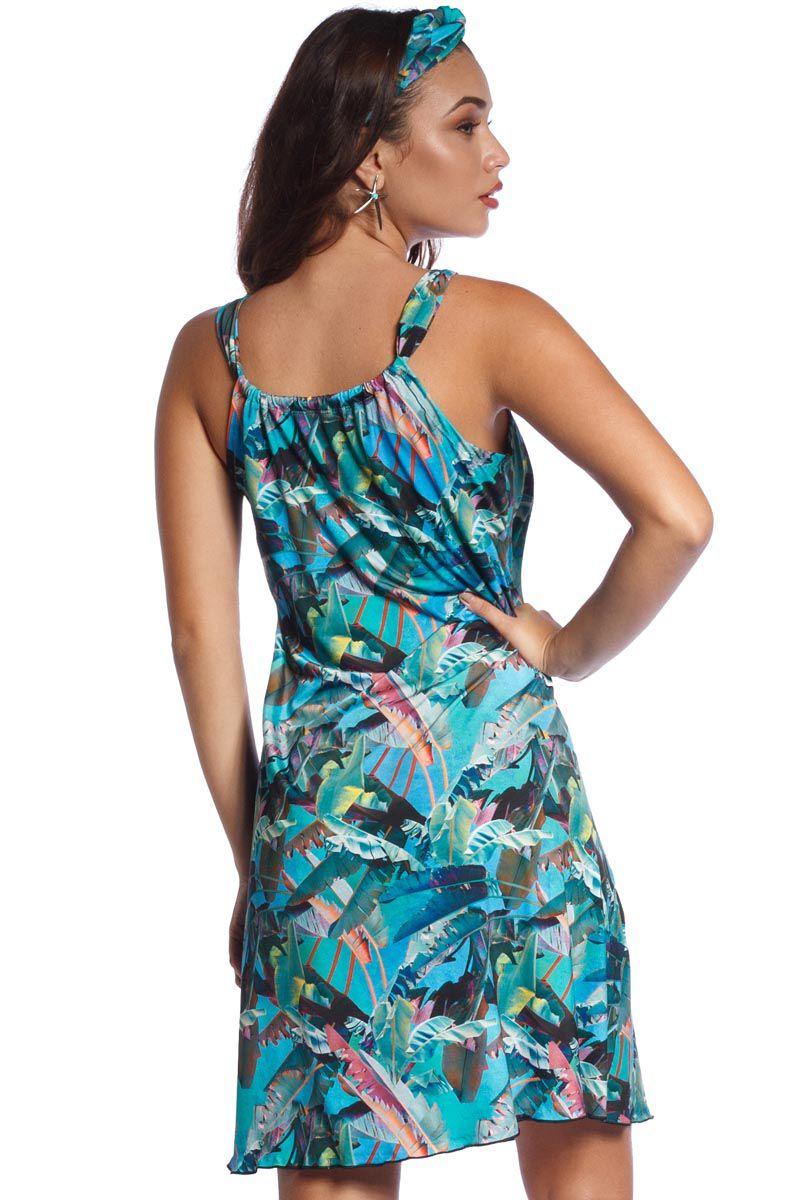 Vestido Saida de Praia Tropical Blue