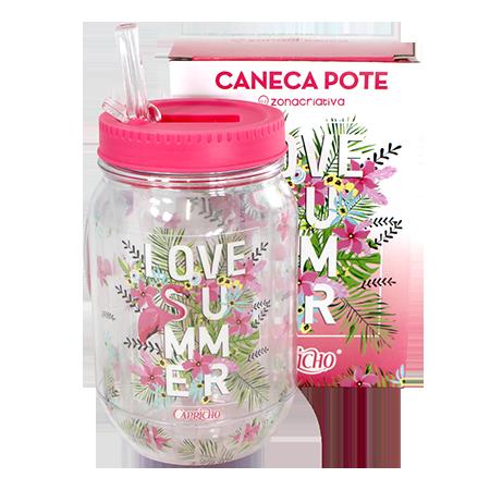 Caneca Pote com Canudo Retrátil Love Summer