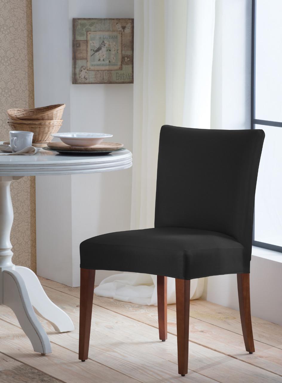 Capa Para Cadeira De Malha Lisa Preto