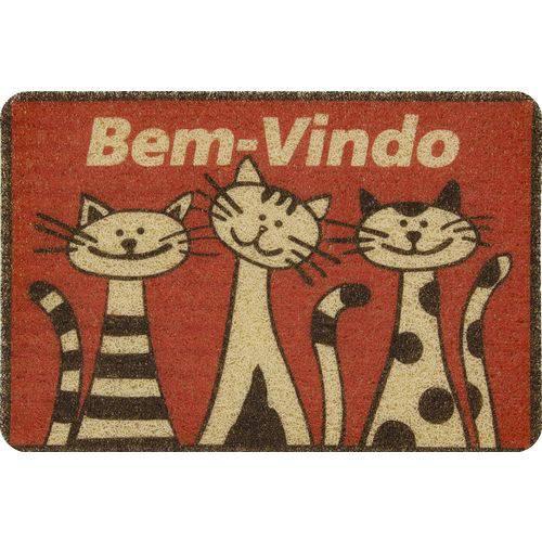 Capacho Vinilico Estampado 60x40cm Gatos Colorful Bellacasa