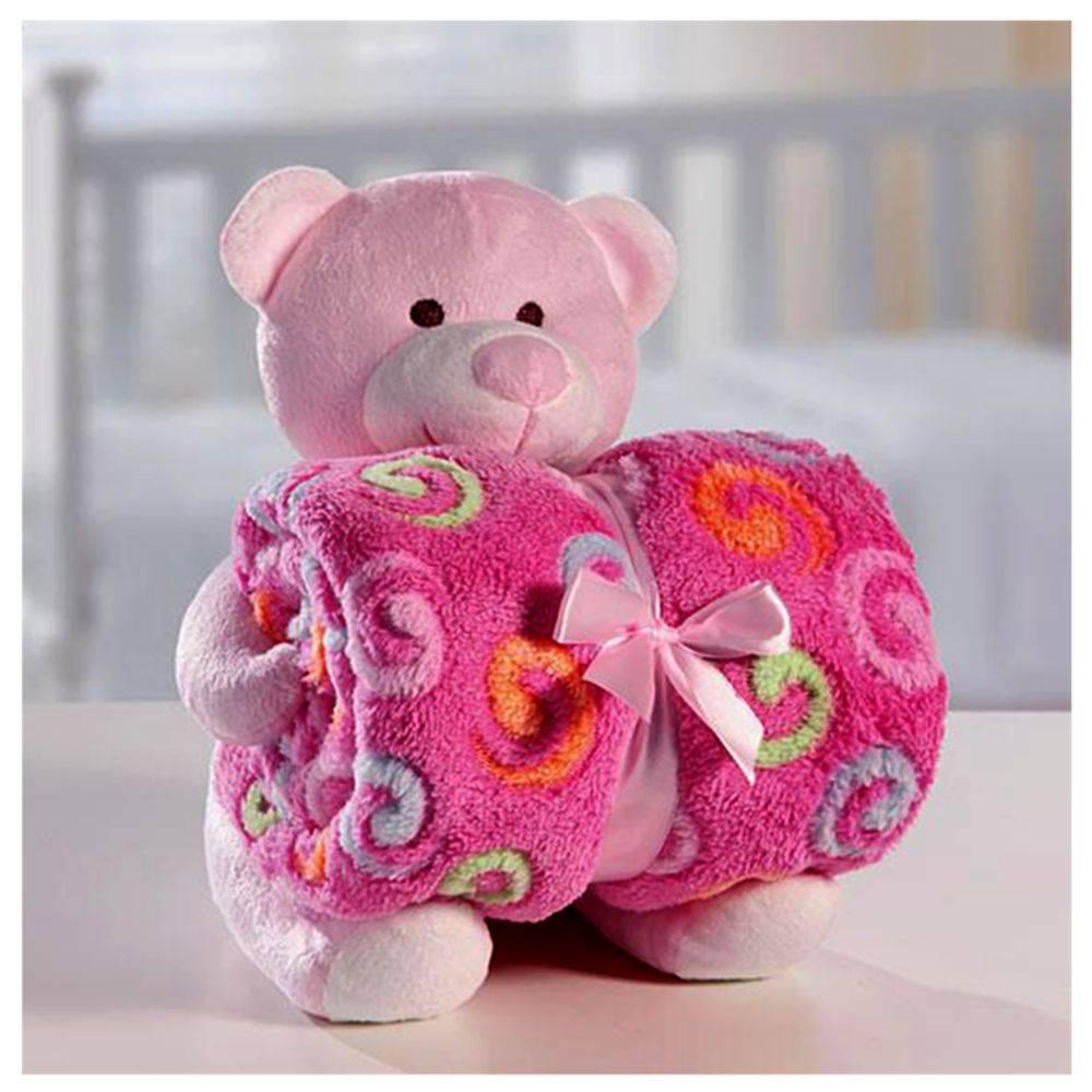 Cobertor Manta C/Ursinho de Pelúcia Rosa - Bouton