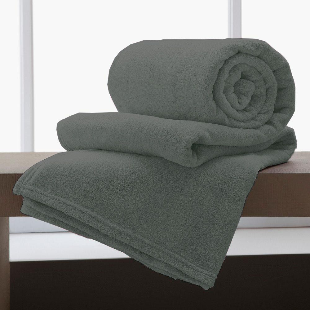 Cobertor Manta De Microfibra King 2,20x2,40M Corttex Chumbo