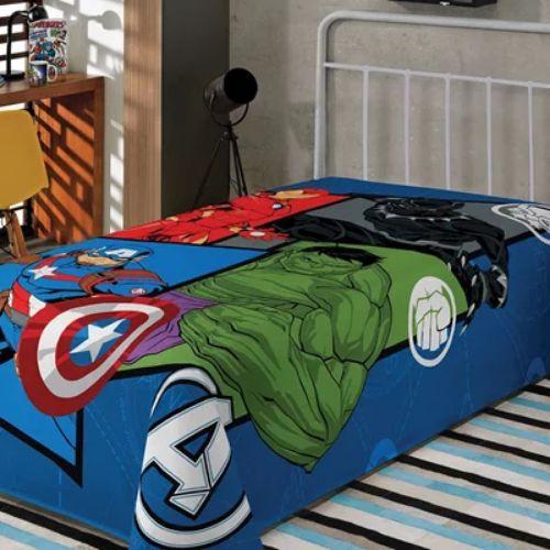 Cobertor Manta Fleece Solteiro Infantil Avengers Lepper