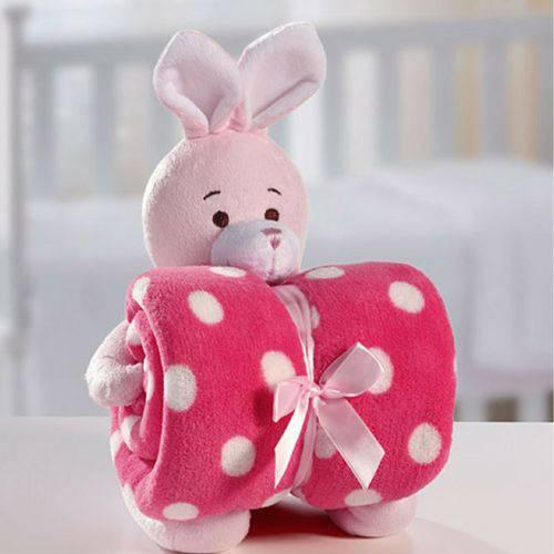 Cobertor Manta Para Bebê C/Coelho de Pelúcia- Bouton