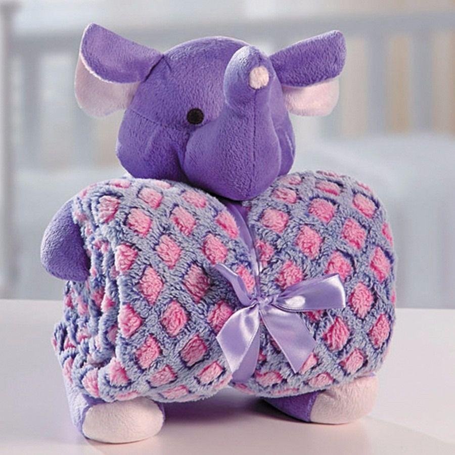 Cobertor Manta Para Bebê com Elefante De Pelúcia Bouton