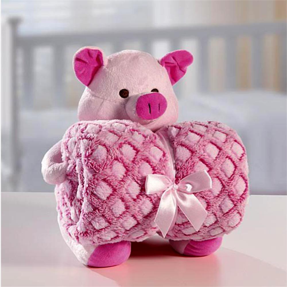 Cobertor Manta Para Bebê com Porquinha De Pelúcia Bouton