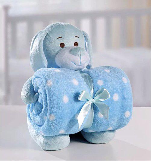 Cobertor Manta Para Bebê com Cachorro Azul De Pelúcia Bouton