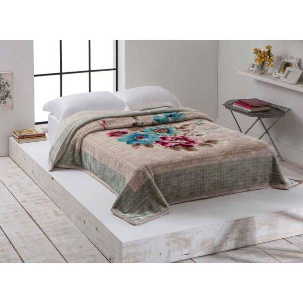 Cobertor Microfibra Home Design Casal Berenice Bege