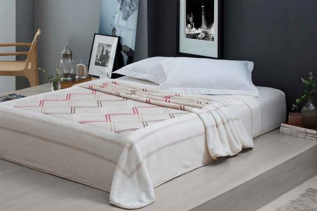 Cobertor Microfibra Home Design Casal / Greek Bege