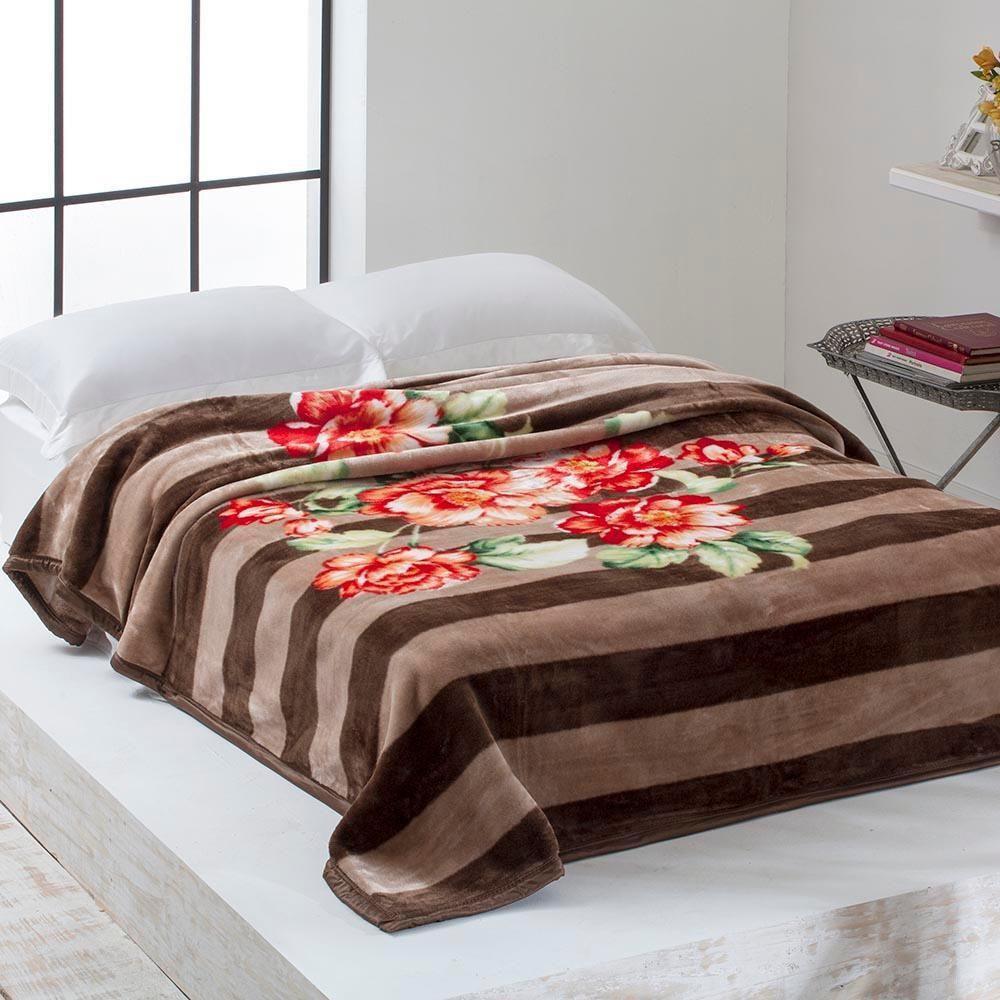 Cobertor Microfibra Home Design Casal Kalya Marrom