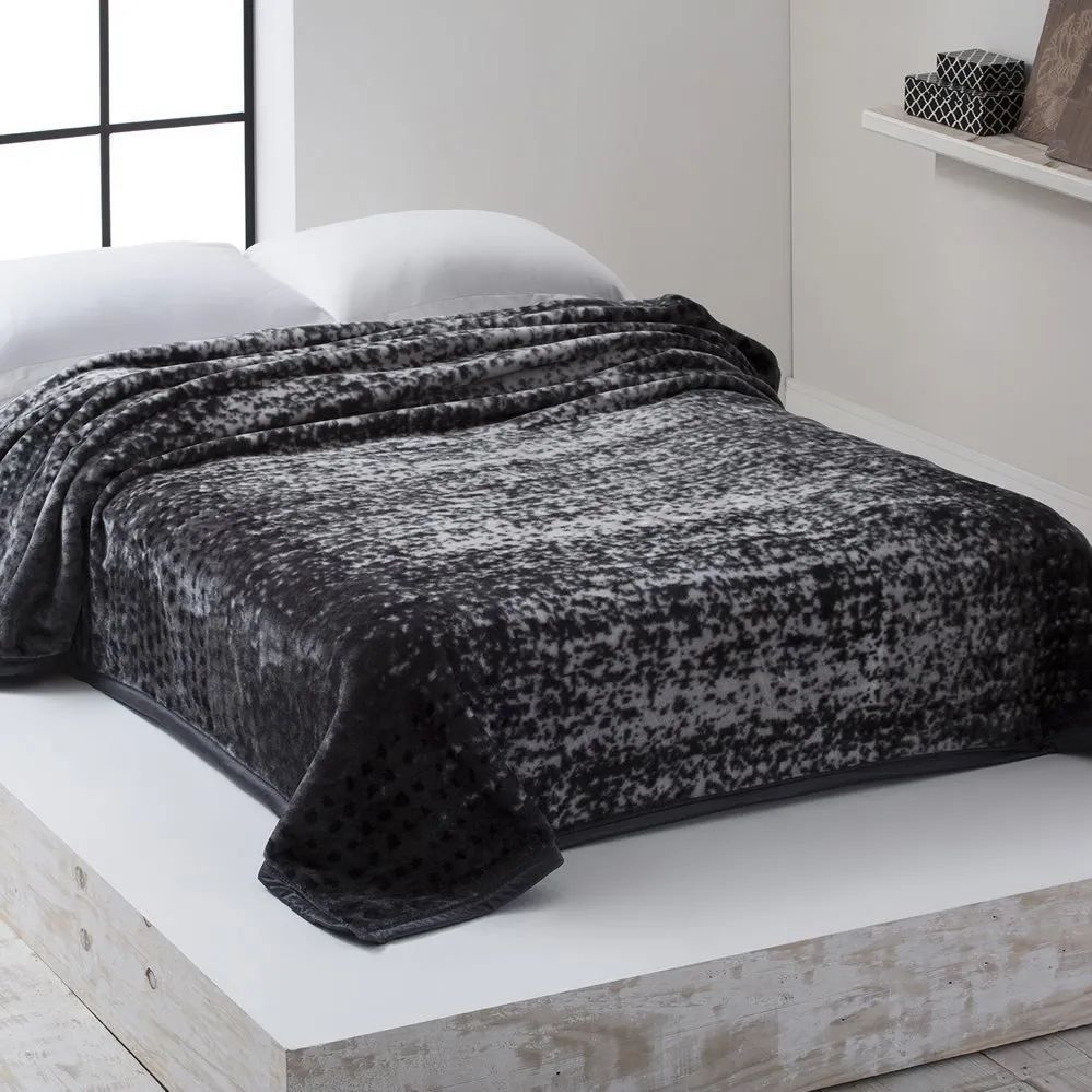 Cobertor Microfibra Home Design Casal Noah Cinza