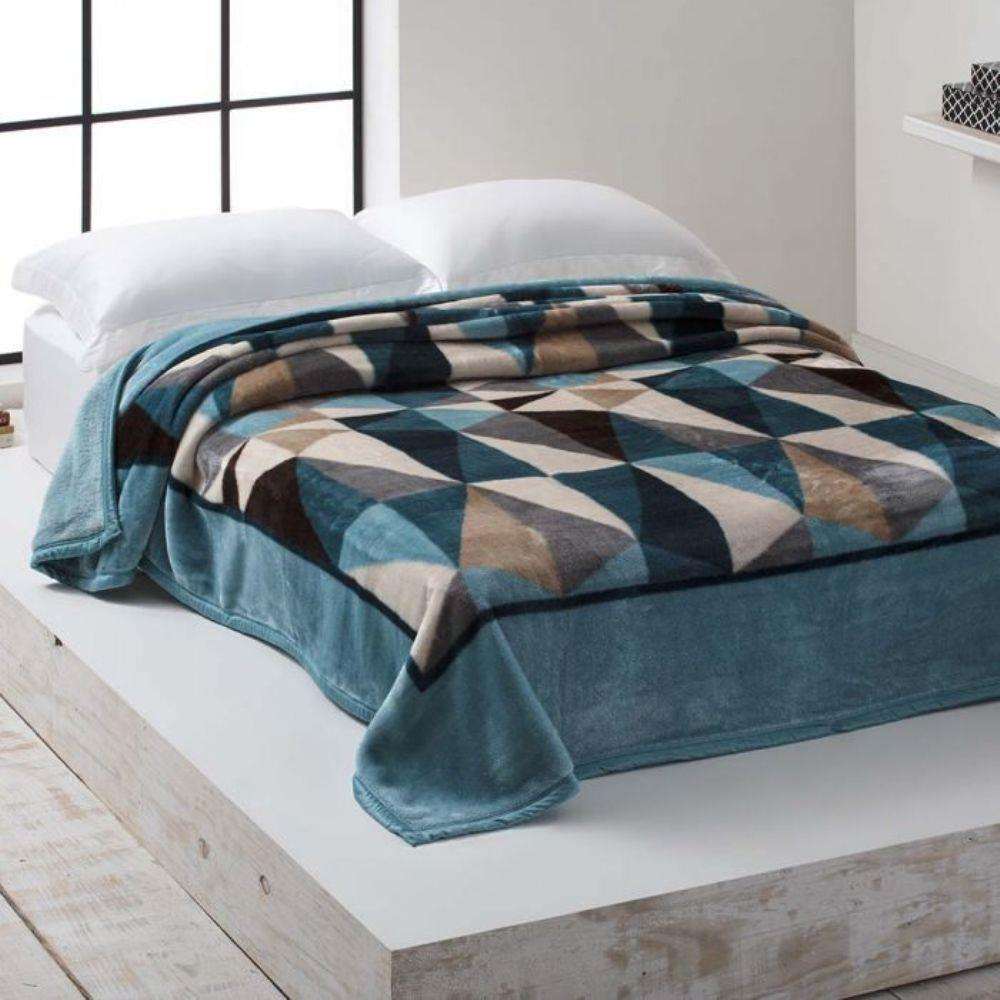 Cobertor Microfibra Home Design Casal Saulo Acqua