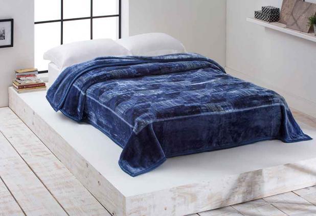 Cobertor Microfibra Home Design Casal Triton Marinho