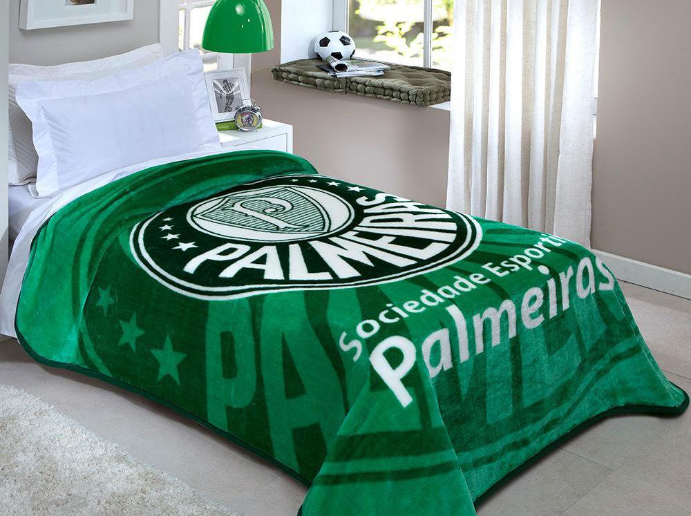 Cobertor Solteiro Estampado Palmeiras F.c 2,00x1,50cm 100% Poliéster Corttex