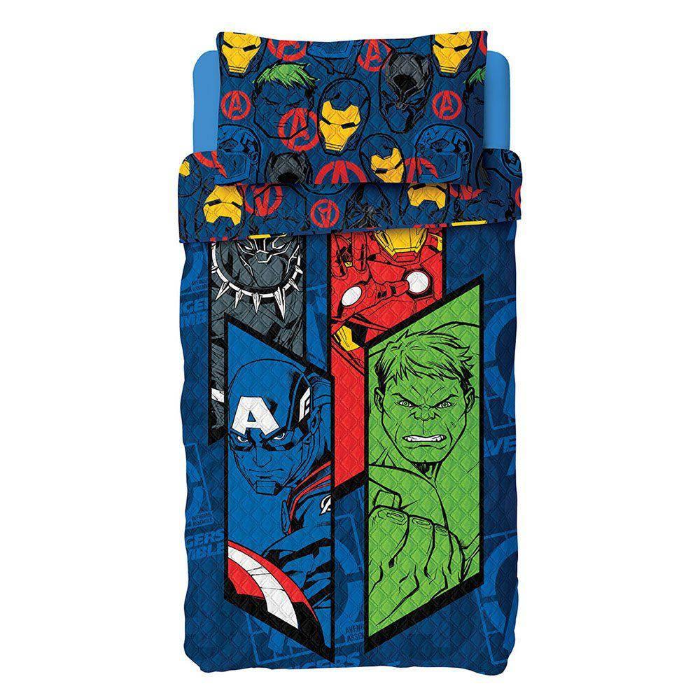 Colcha Dupla Face Bouti Solteiro Os Vingadores Avengers 2Pçs