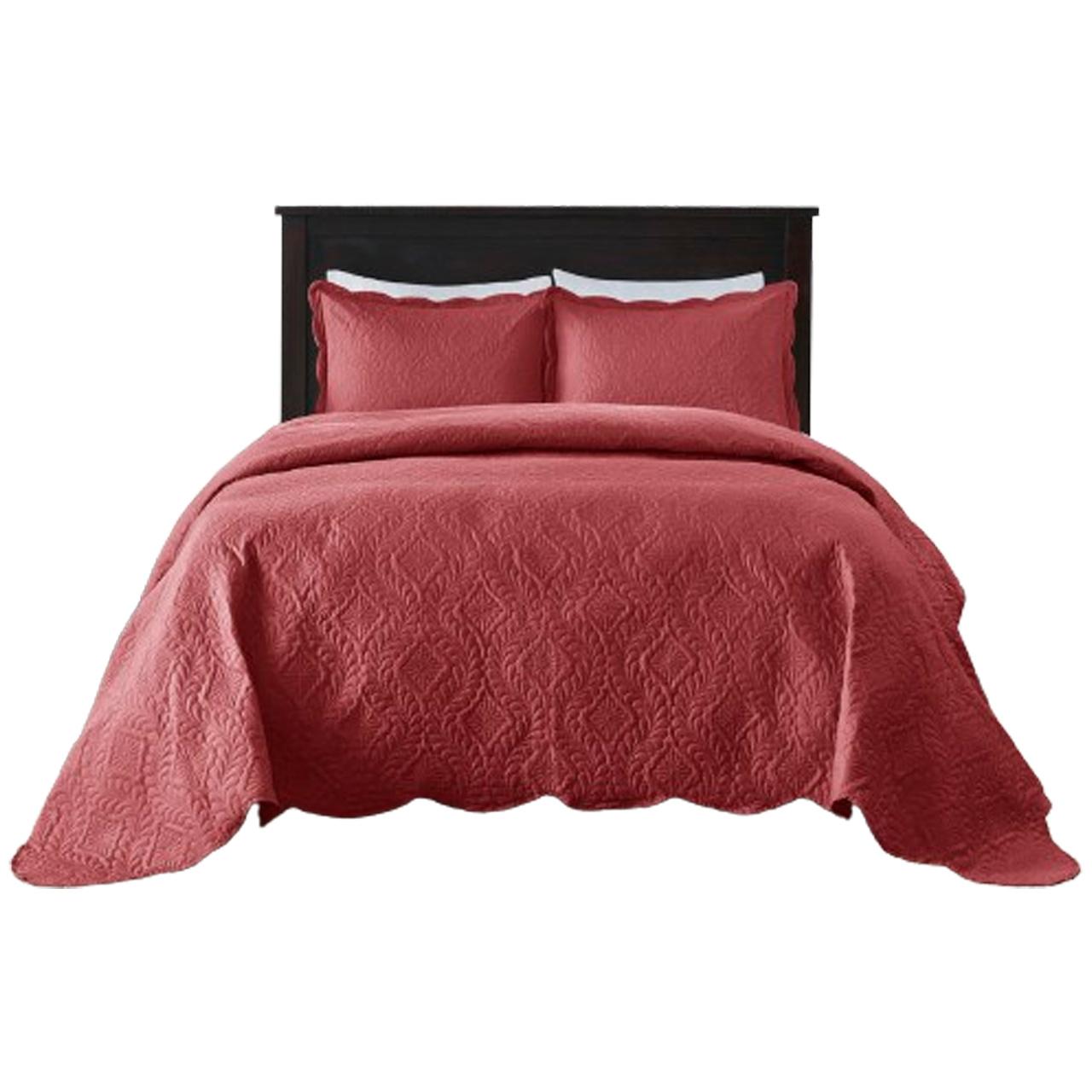 Colcha Milão Color Art lisa Queen/ Vermelho Desenho Colonial