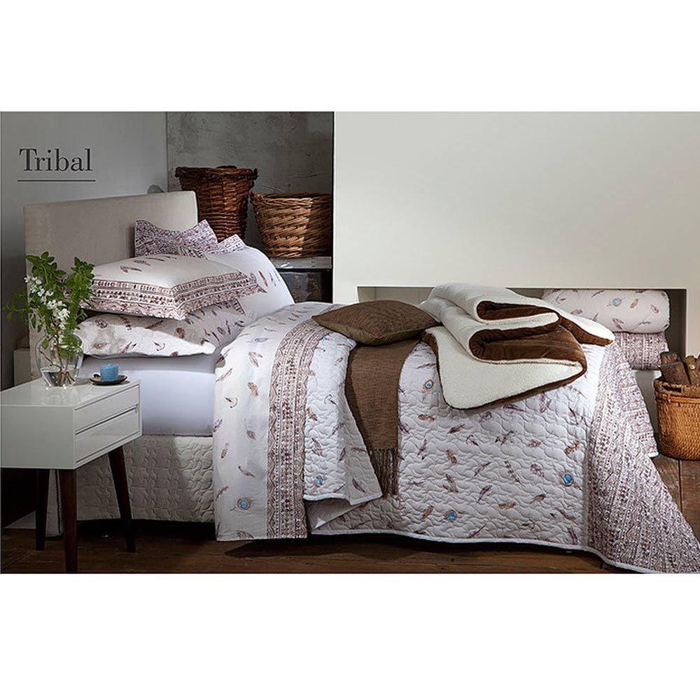 Colcha Queen Matelassê Percal 200 Fios Tribal Com Porta Travesseiros Naturalle Fashion